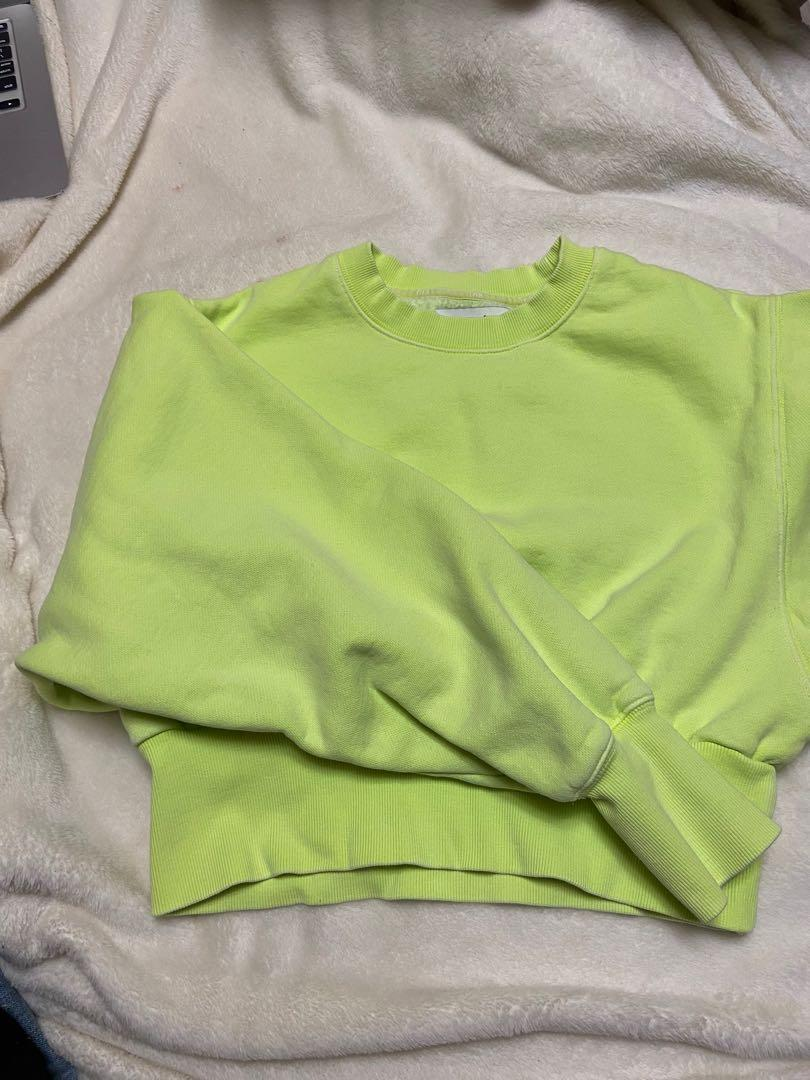 TNA cropped neon yellow sweater