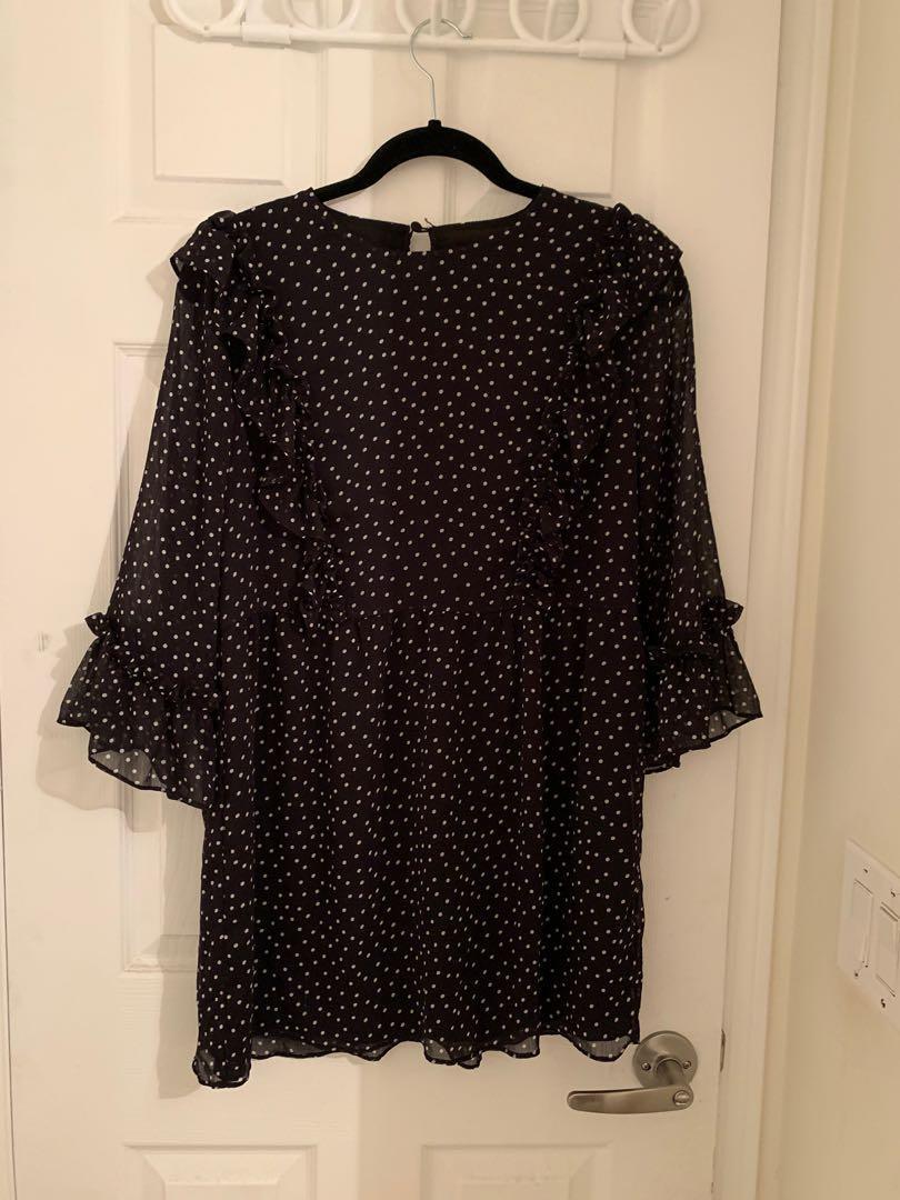 Topshop black dotted dress