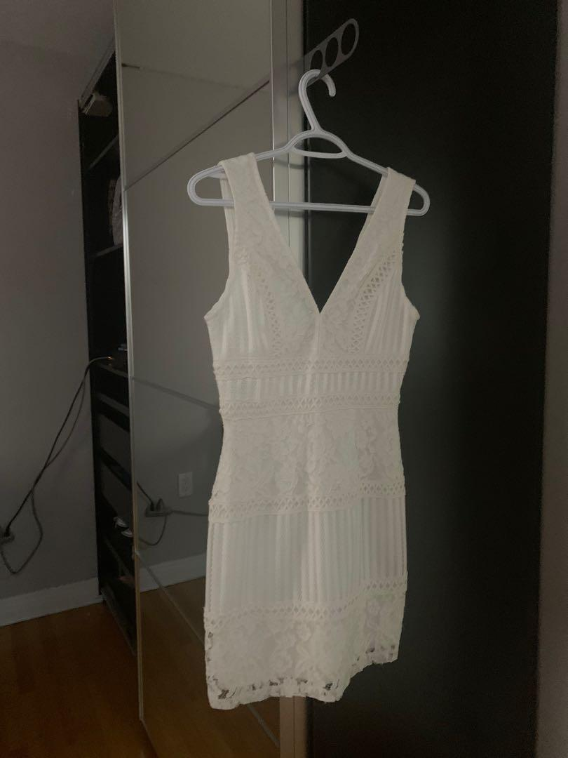 white bodycon lace dress