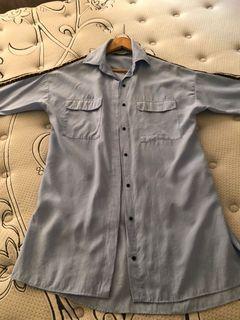 Zara long light blue shirt, size XS
