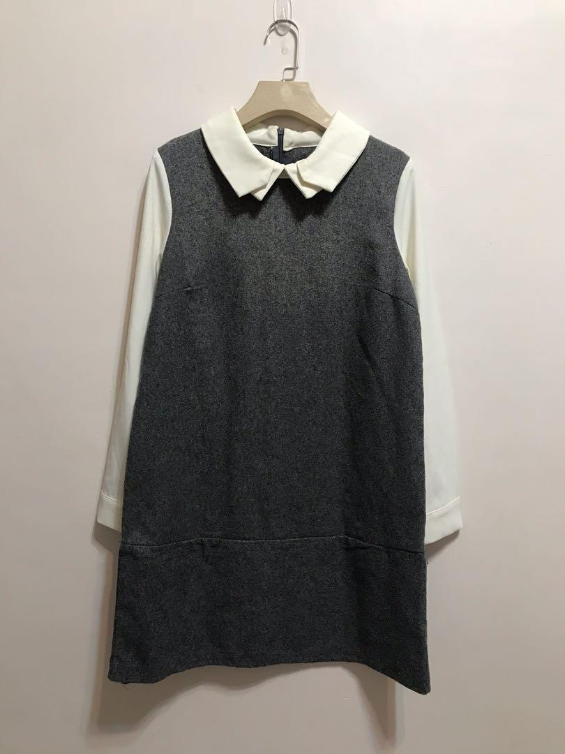 灰色拼接雪紡氣質長袖洋裝-免費,贈