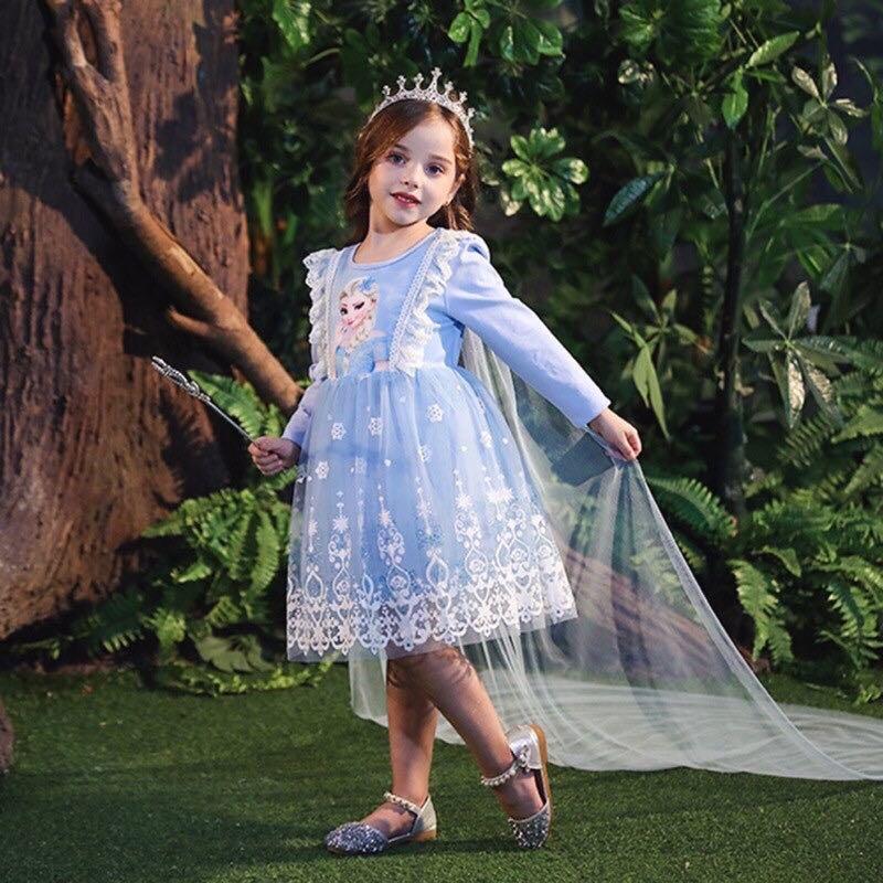 冰雪奇緣艾莎雪花蕾絲公主裙(不含披風)