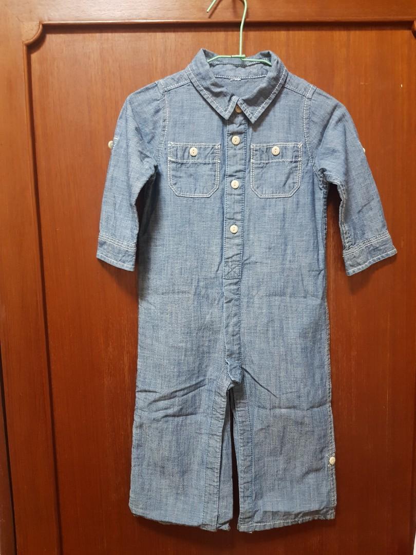 牛仔連身工作服造型包屁衣(軟質布料