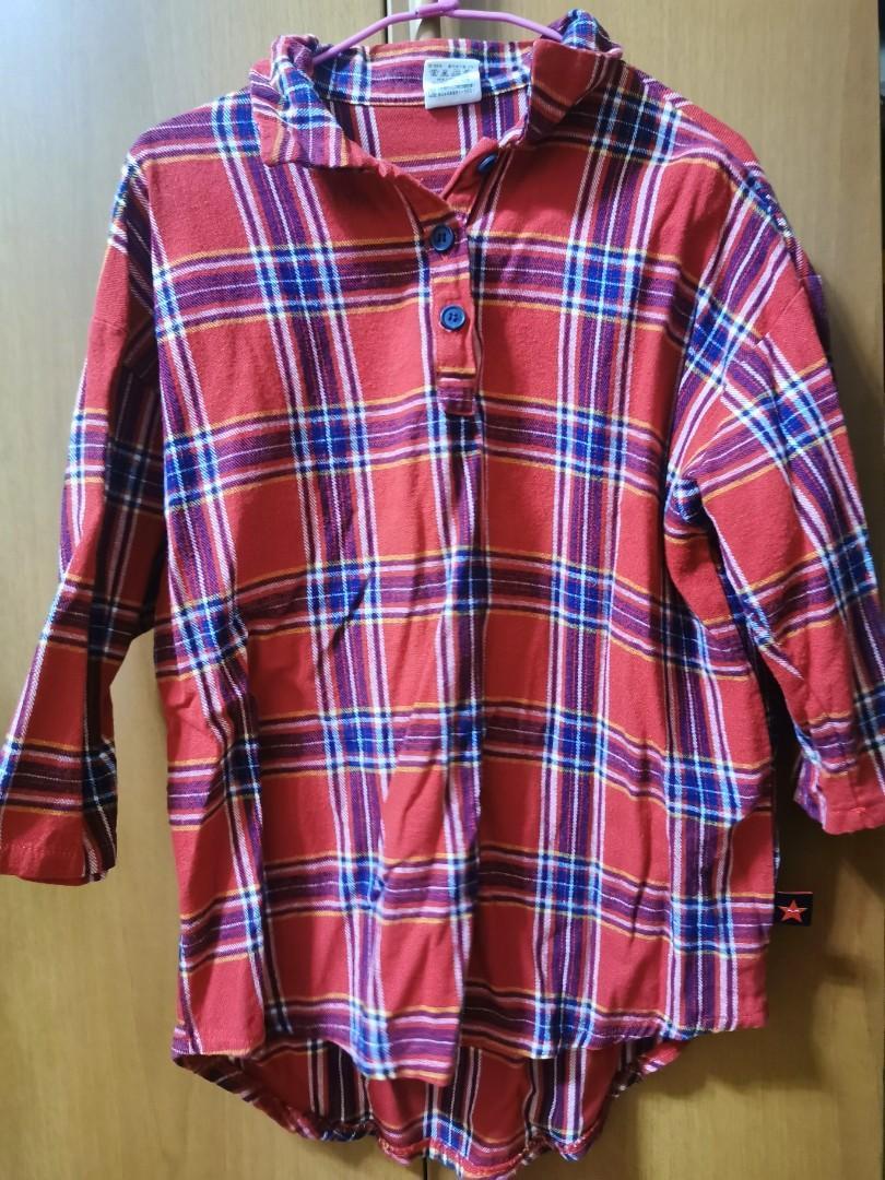 韓國  格紋7分連袖長版襯衫上衣