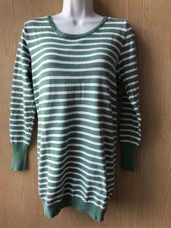 (二手很新)綠色條紋 圓領長袖上衣F 針織上衣