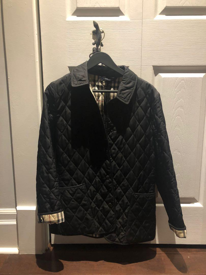 Black Burberry Quilted Jacket, Size Small