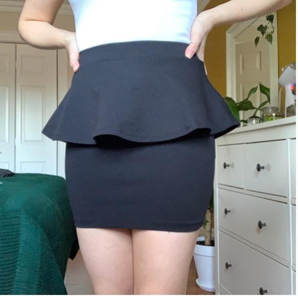 black peplum mini skirt