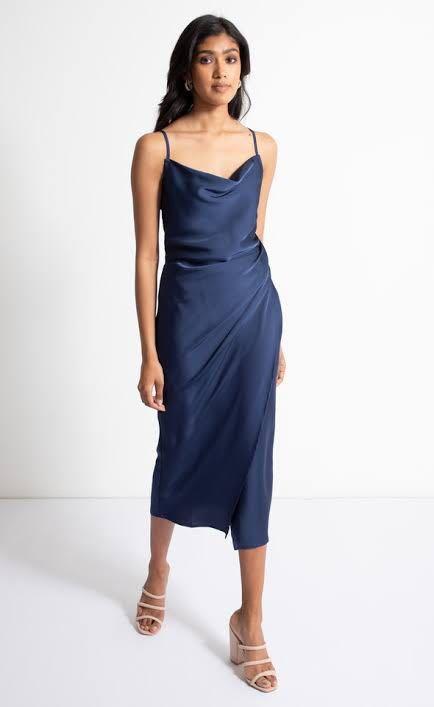 Brand new satin navy dress with split
