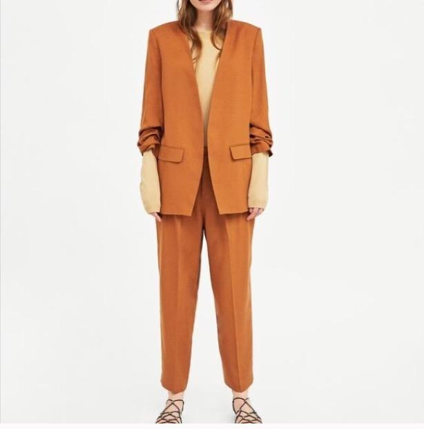 brown/caramel pantsuit