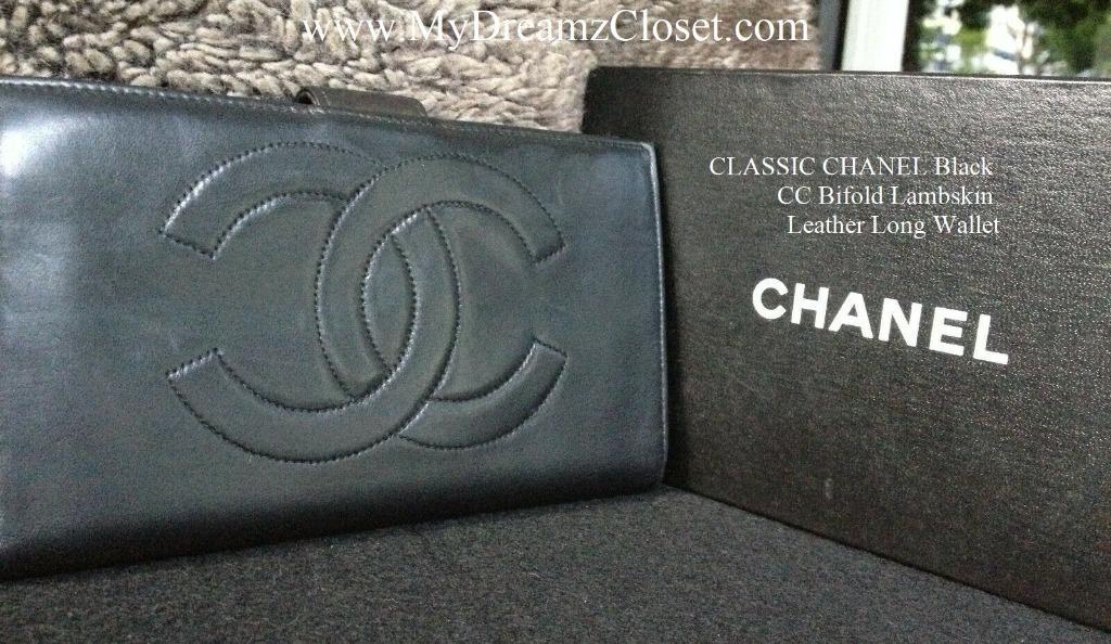 CLASSIC CHANEL Black CC Bifold Lambskin Leather Long Wallet