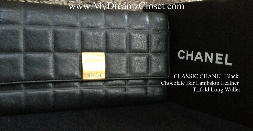 CLASSIC CHANEL Black Chocolate Bar Lambskin Leather Trifold Long Wallet