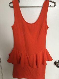 Cotton On Orange Peplum Dress