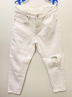 COTTON ON White Boyfriend Jeans with Ripped Design