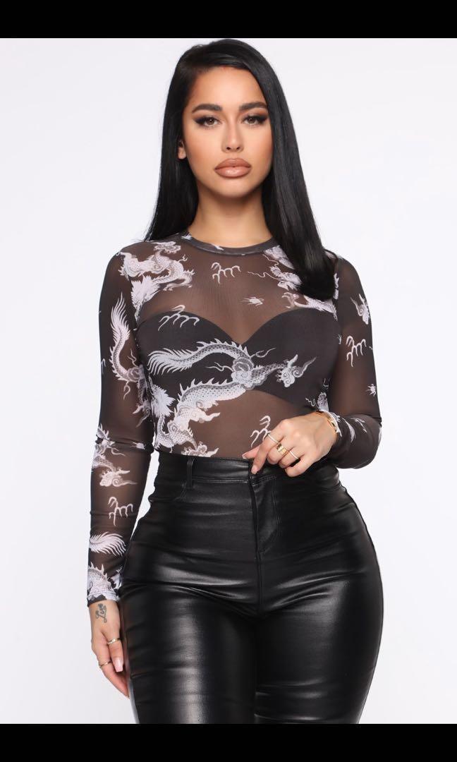 Fashion Nova dragon mesh top