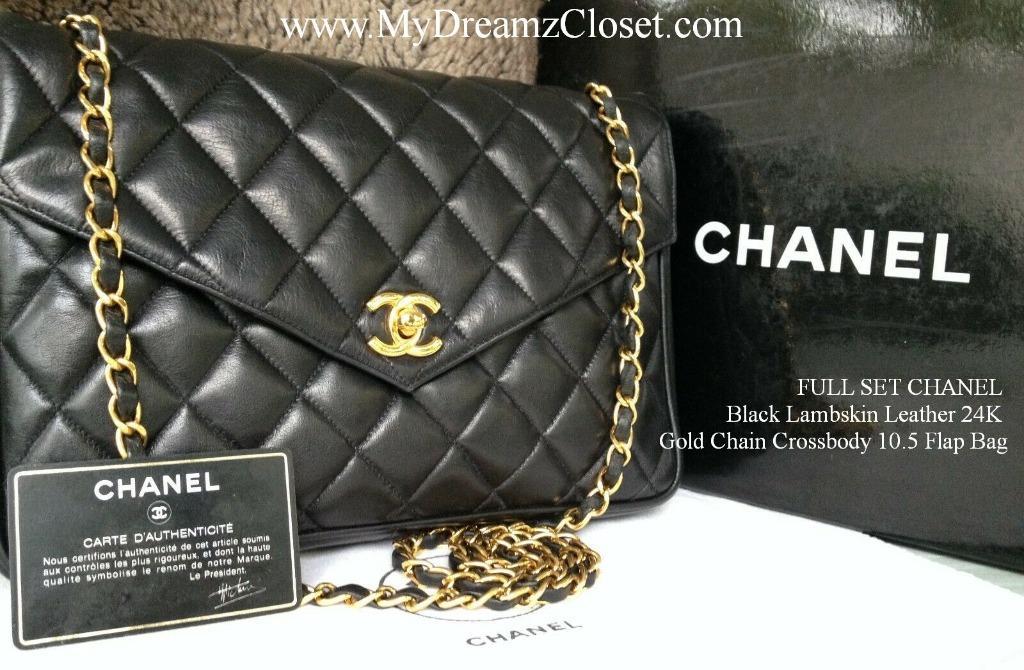 FULL SET CHANEL Black Lambskin Leather 24K Gold Chain Crossbody 10.5 Flap Bag
