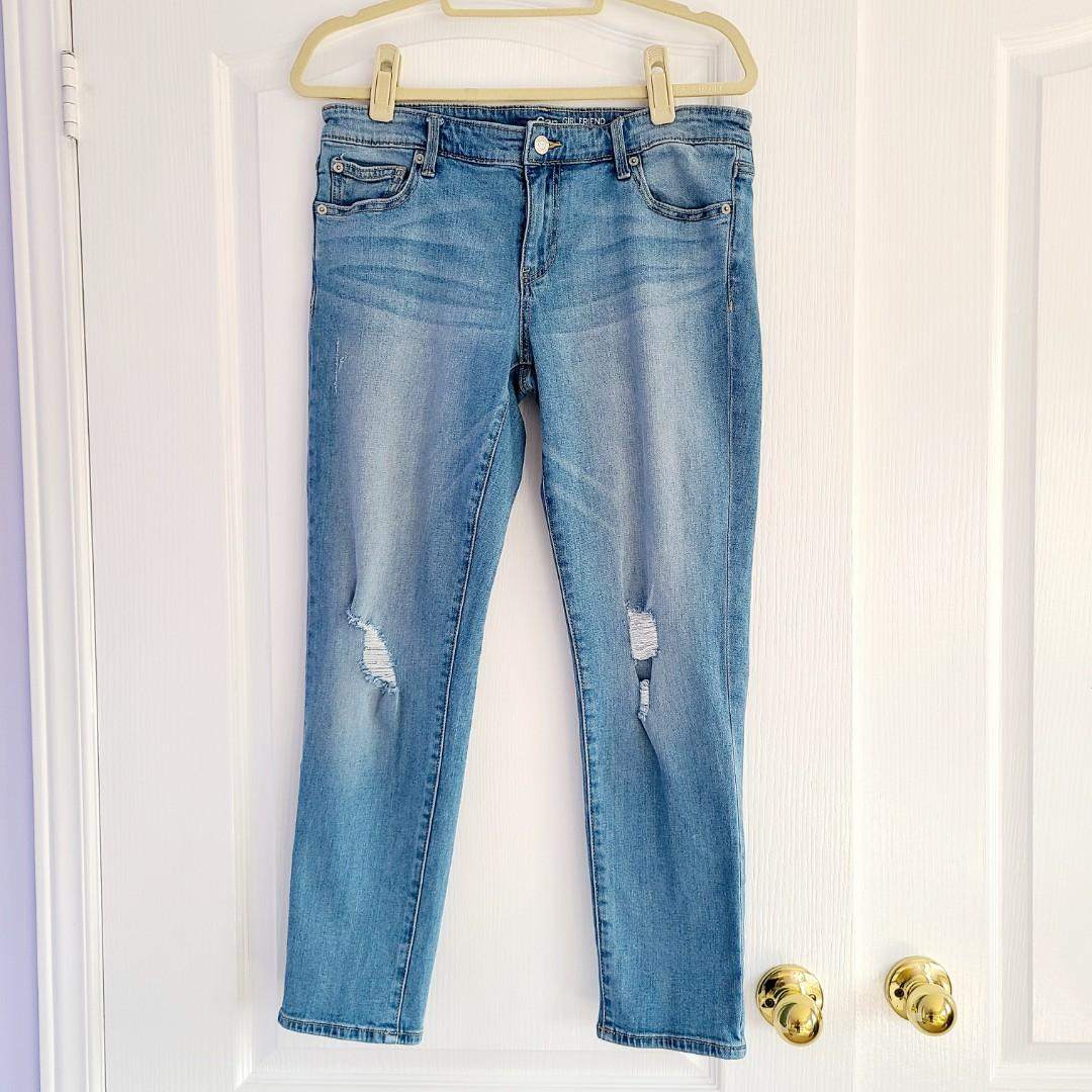 Gap Girlfriend Distressed Ripped Mid Rise Jeans