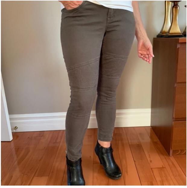 green cargo/moto skinny jeans