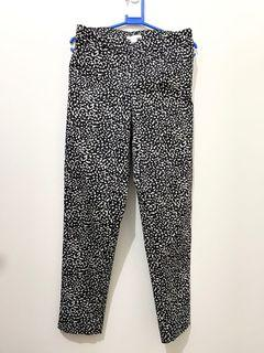 H&M Black and White Printed High Waist Ankle Length Trousers