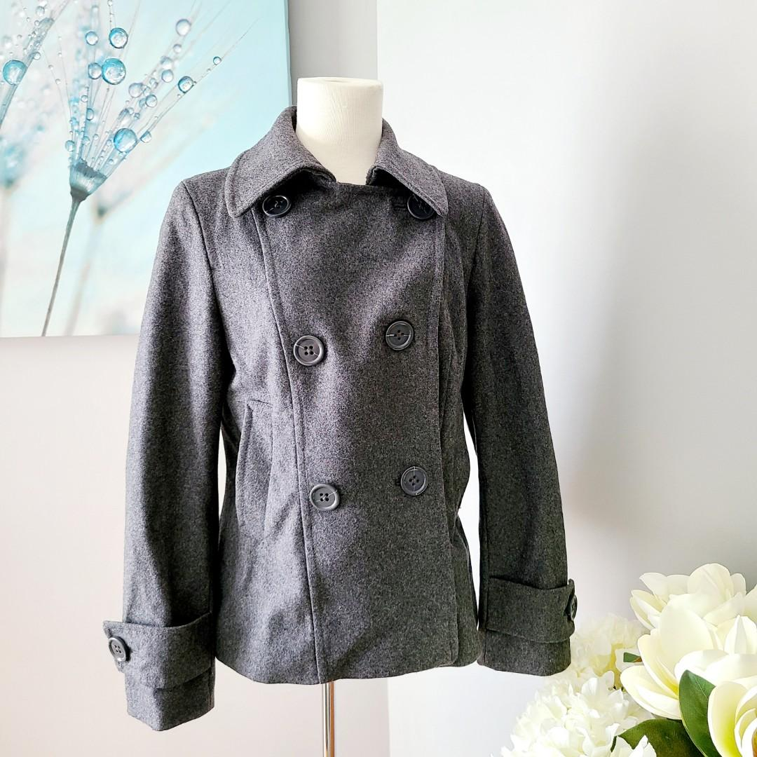 H&M Double Breasted Grey Peacoat with collar
