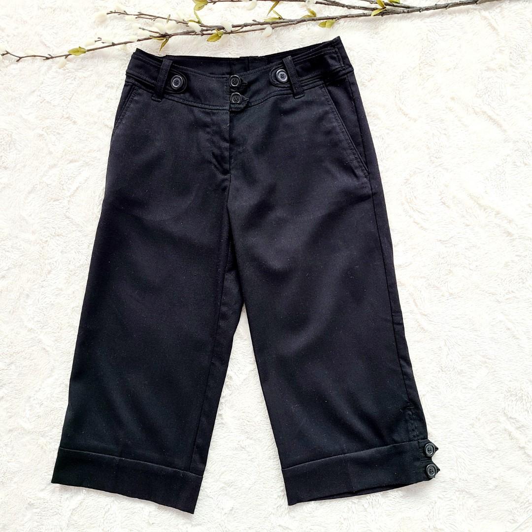 H&M Wide Leg Black Capri Pants