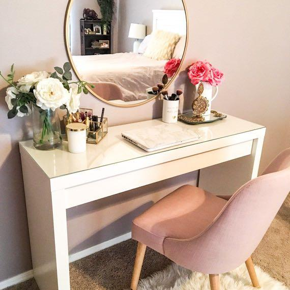 ikea malm dressing table, glass topper & stool