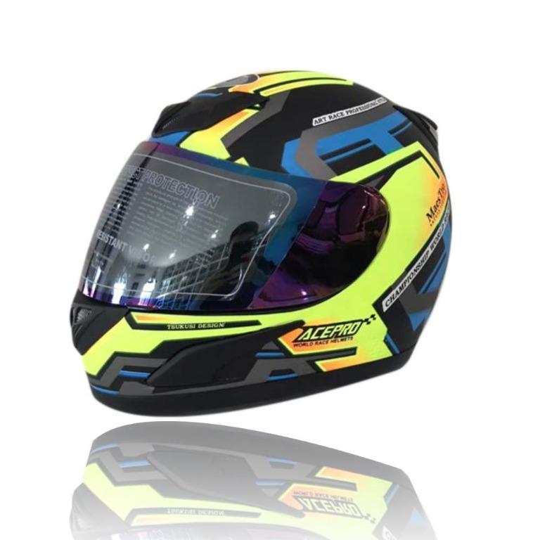 JPN Helm Motor Full Face Acepro Kuning Ukuran L - XL