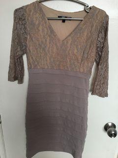 Karimadon Party Nude Blush Bodycon Lace Dress