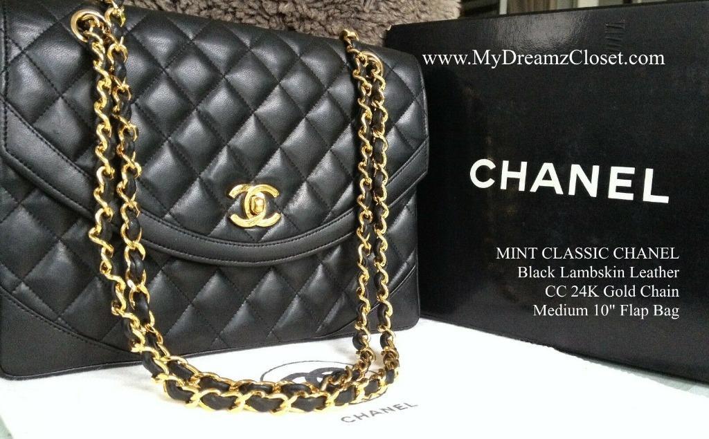 "MINT CLASSIC CHANEL Black Lambskin Leather CC 24K Gold Chain Medium 10"" Flap Bag"