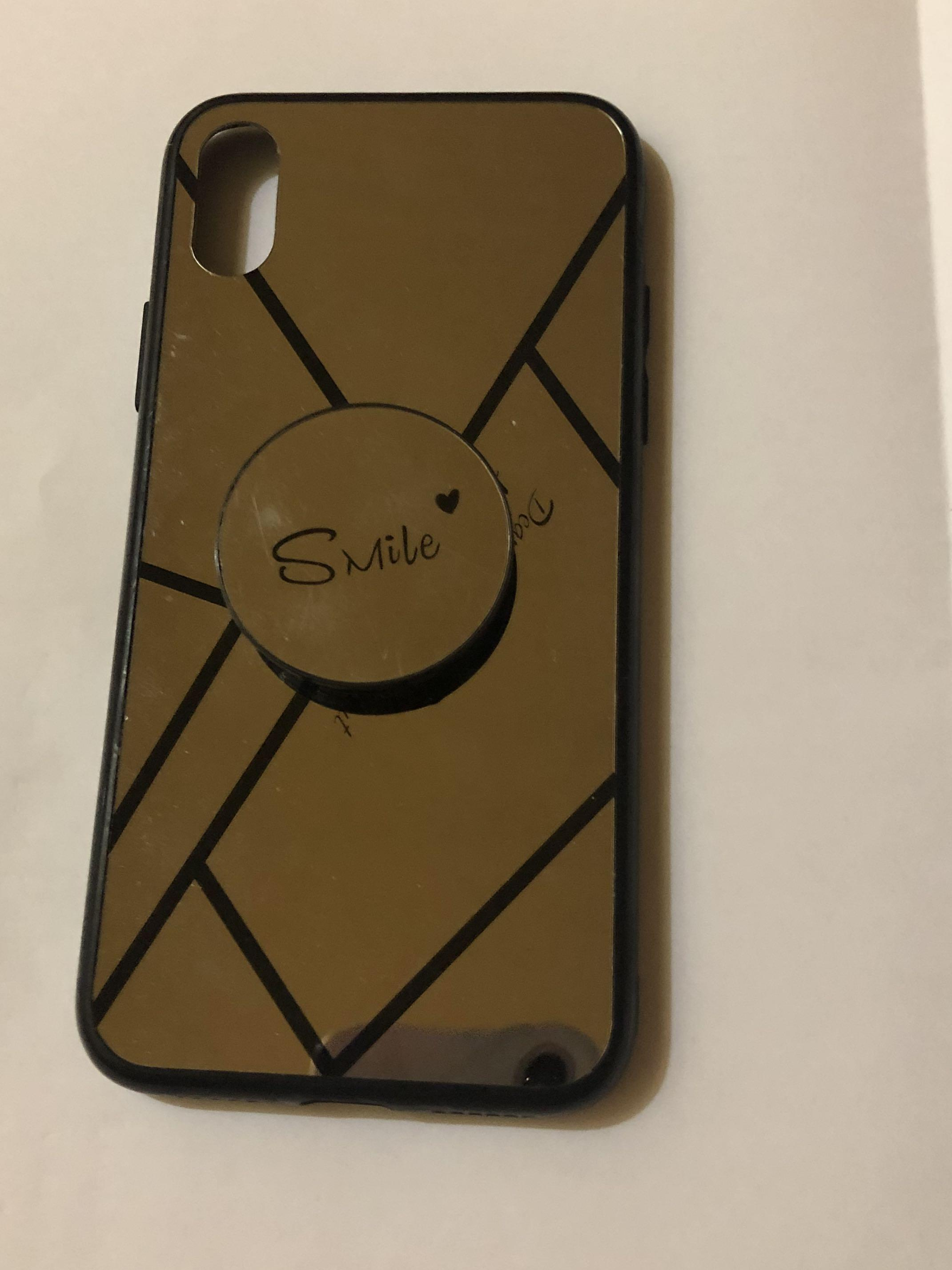 Mirror Case with Smile Pop socket