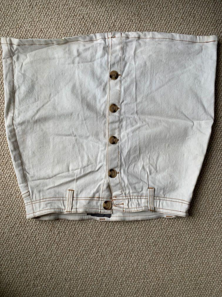 MIRROU white jean button-up skirt