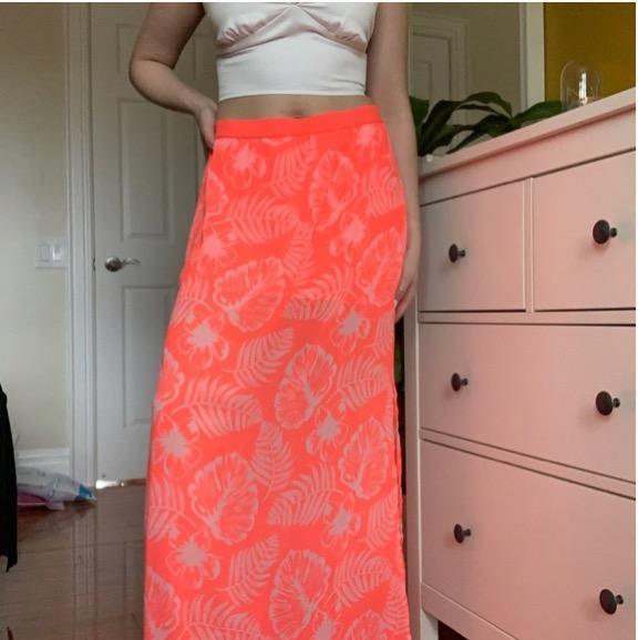 neon orange/pink floral maxi skirt