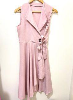 Pink Sleeveless Wrap Around Dress