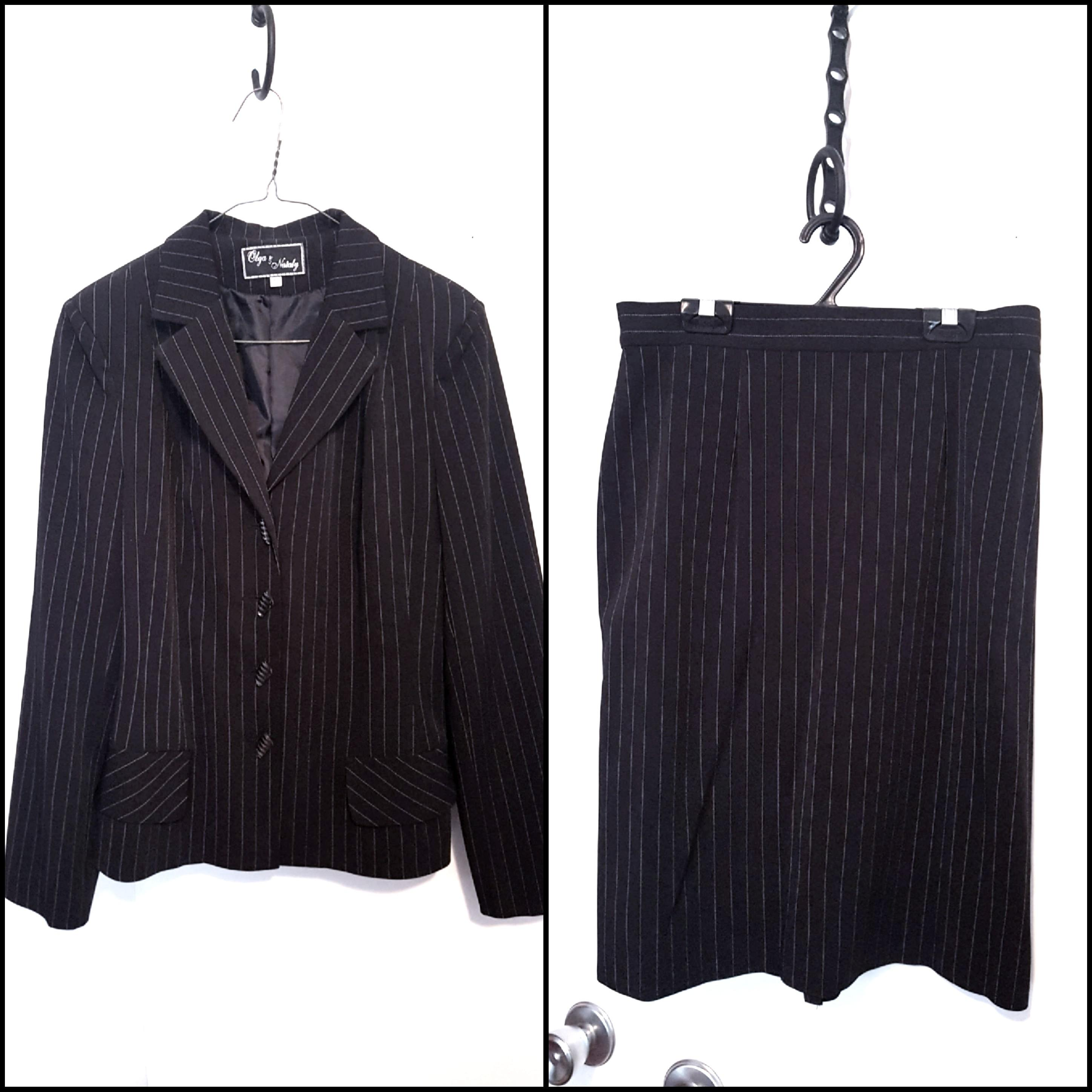 Pinstriped skirt suit