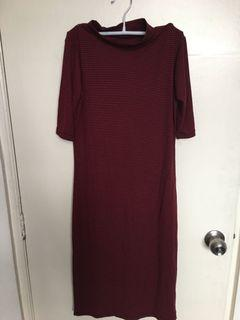 Red Strip Bodycon Midi Dress