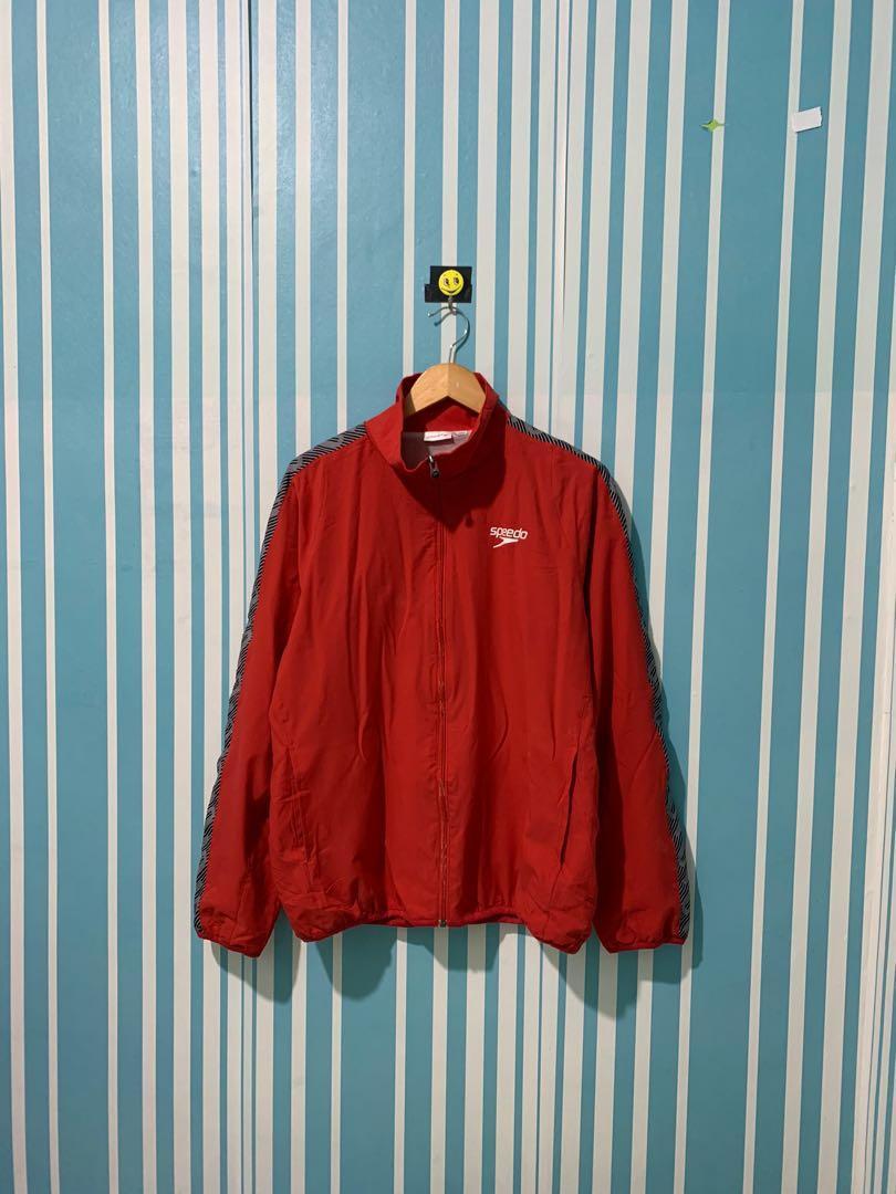 Speedo Jaket tracktop jaket training jaket Sepeda jaket running jaket Windbreaker Second Thrift Preloved Bekas Merah