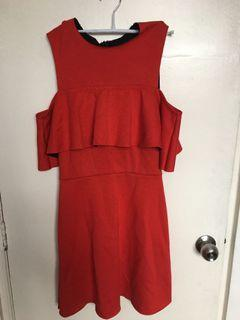 Topshop Off The Shoulder Red Dress