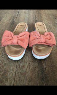 Ugg Peach Tangerine Suede Bow Platform Sandals - 7.5
