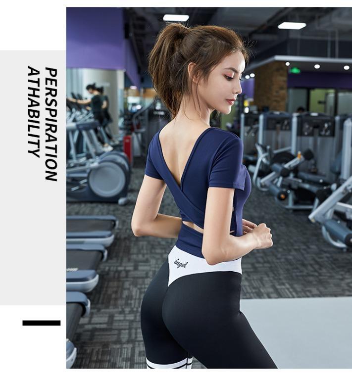 性感V領瑜珈服健身顯瘦美背短袖Bra-T恤露背交叉L