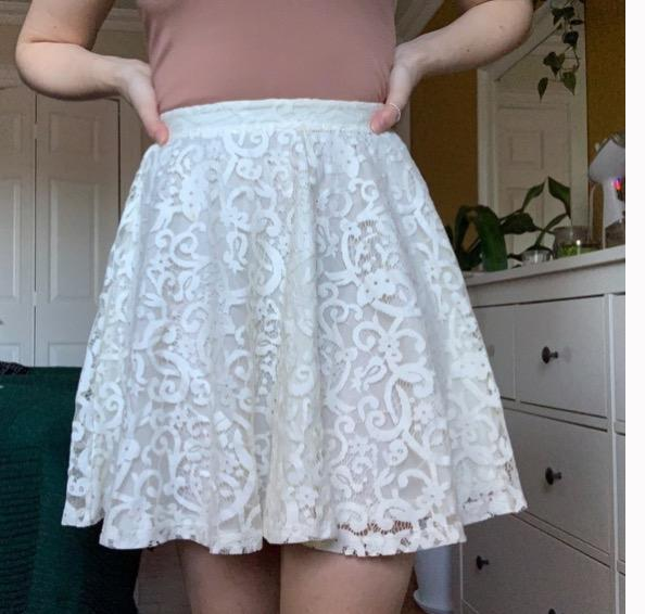 white lace circle skirt NWT