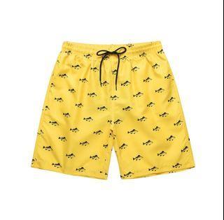 Zaful Yellow Fish Print Drawstring Casual Shorts, Medium