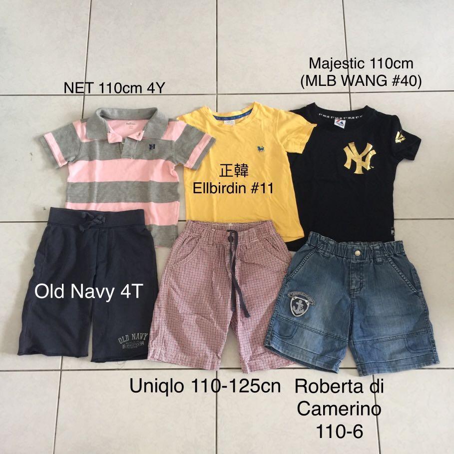 6件合售 約110cm Uniqlo 諾貝達 NET 正韓 Old Navy 男童短袖T恤上衣短褲