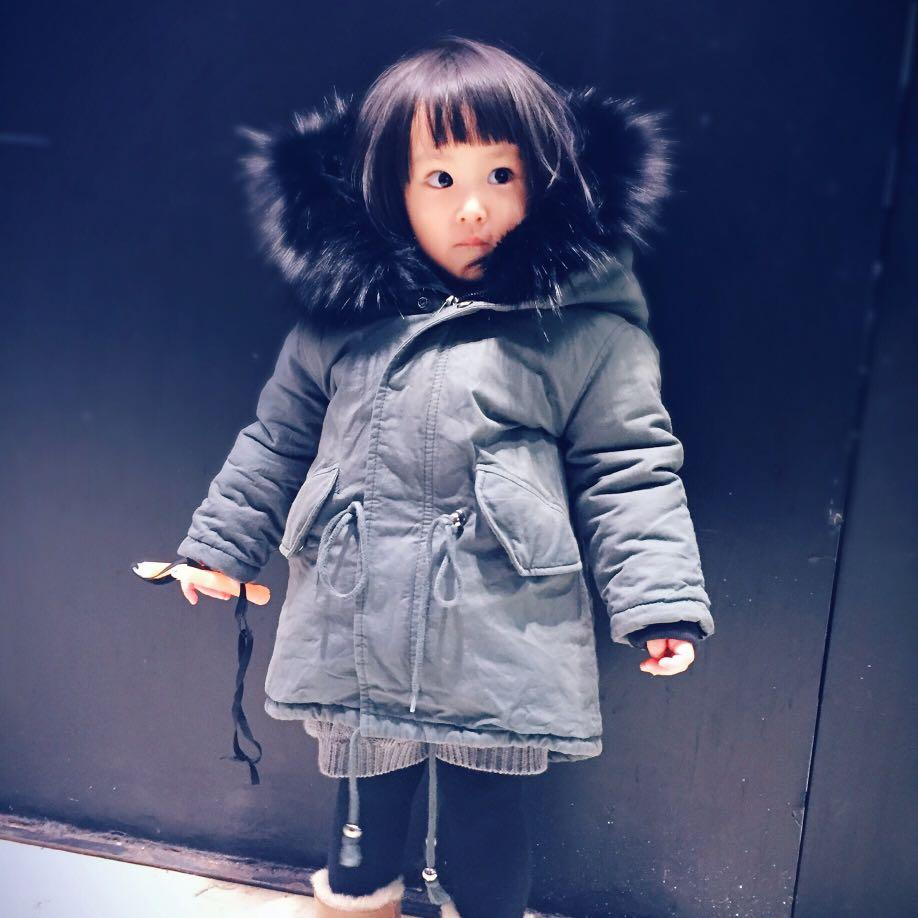 女寶寶冬季大毛領保暖厚外套大衣