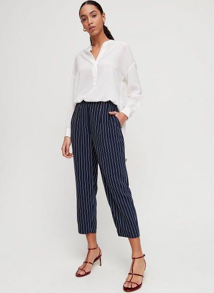 Babaton navy and white striped trousers