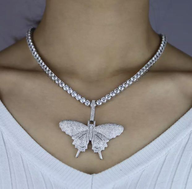 Brand new crystal butterfly necklace