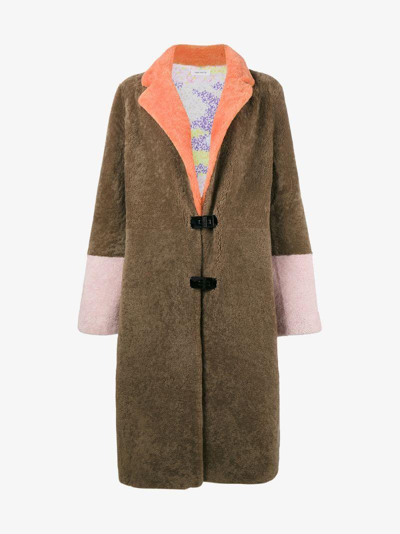 Brand New Saks potts colour block shearling coat bought at $1500