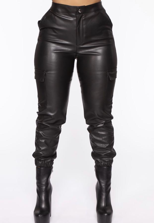 Brand new size small faux leather joggers highwaisted