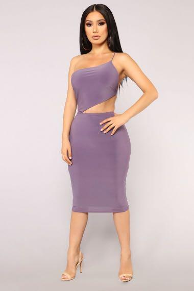 Brand new size small purple assymetical midaxi dress slinky