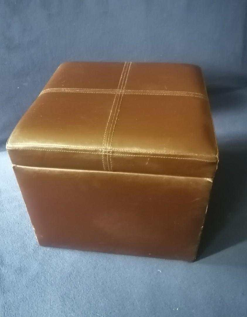 Brown Faux Leather Cube Storage Ottoman