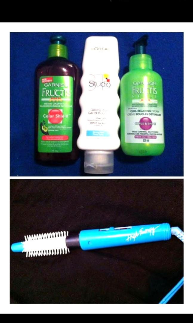 Curling brush and hair products LOT