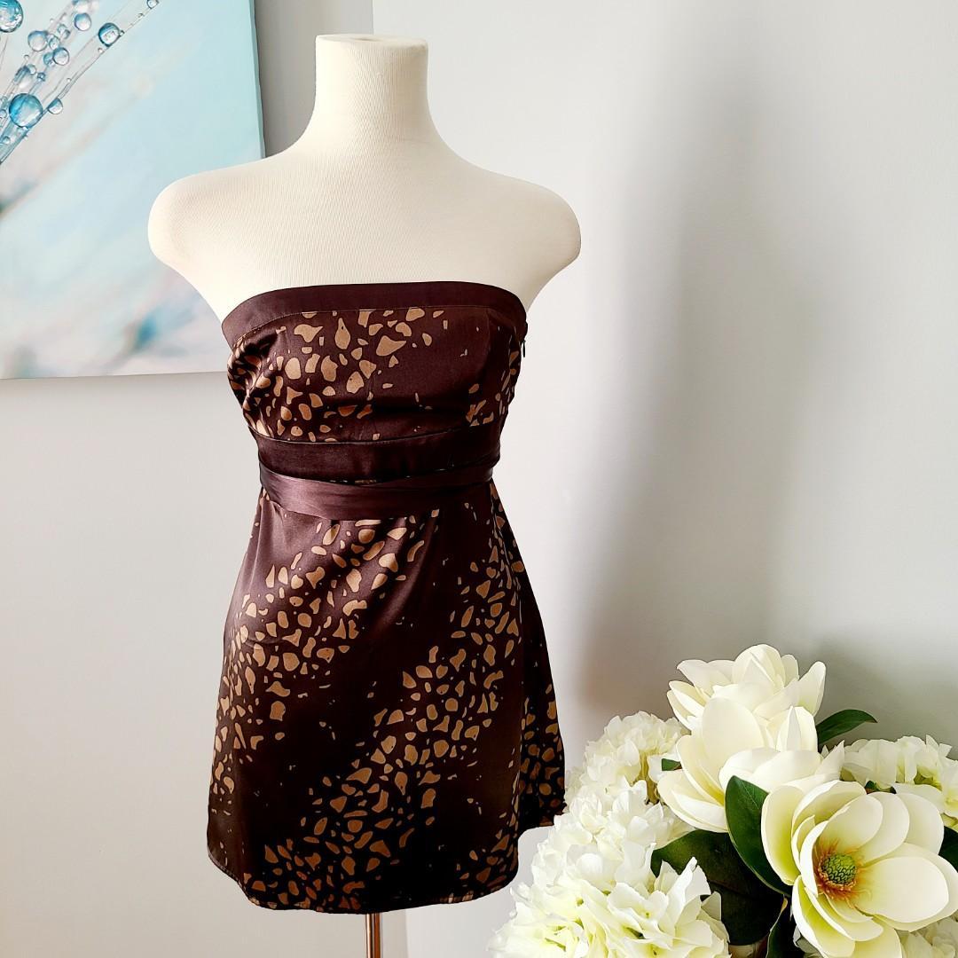Dynamite Leopard Print Strapless Tunic Top / Dress